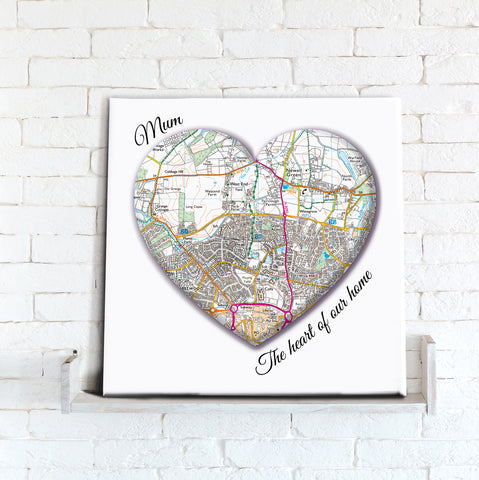 Canvas Print - Personalised Map Heart 'Mum'