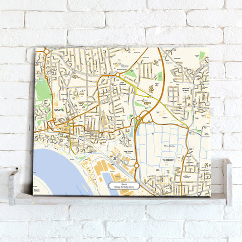 Map Canvas - Personalised Ordnance Survey Street Map (optional inscription)