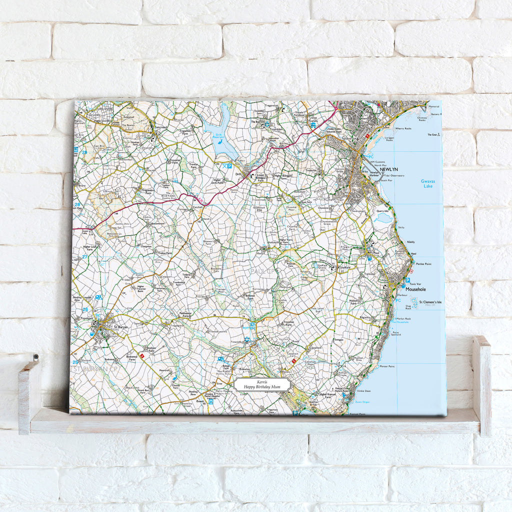 Map Canvas - Personalised Ordnance Survey Explorer Map (optional inscription) - Love Maps On... - 1