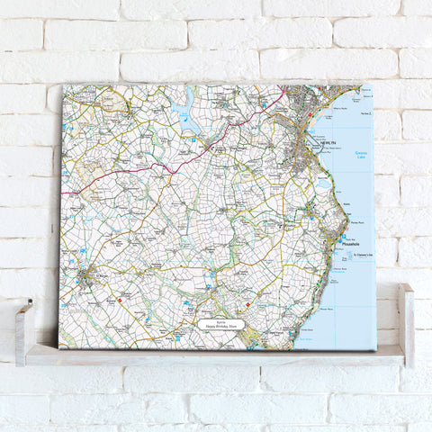 Map Canvas - Personalised Ordnance Survey Explorer Map (optional inscription)