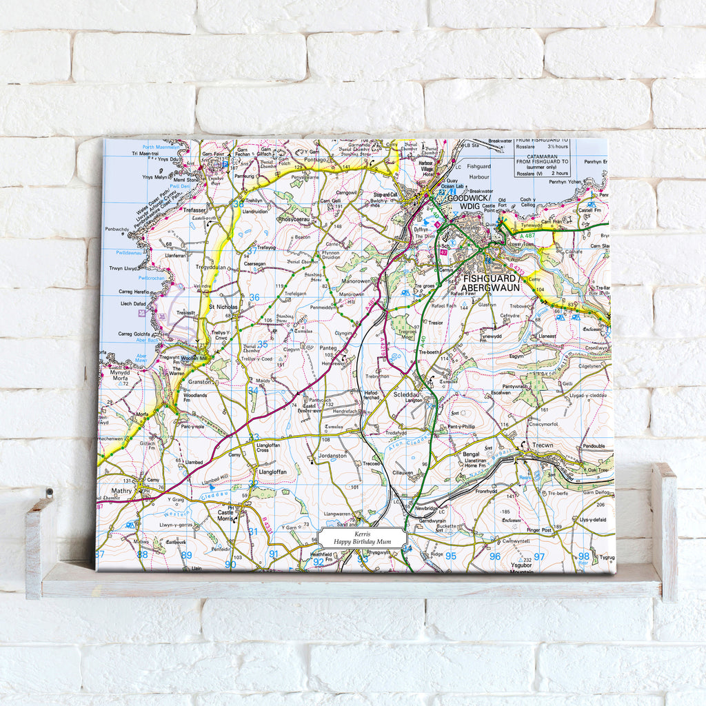Map Canvas - Personalised Ordnance Survey Landranger Map (optional inscription) - Love Maps On... - 1