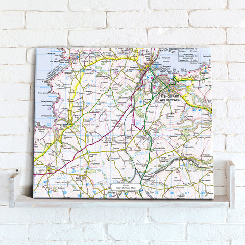 Map Canvas - Personalised Ordnance Survey Landranger Map (optional inscription)