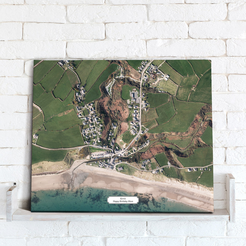 Map Canvas - Personalised Aerial Imagery (optional inscription)