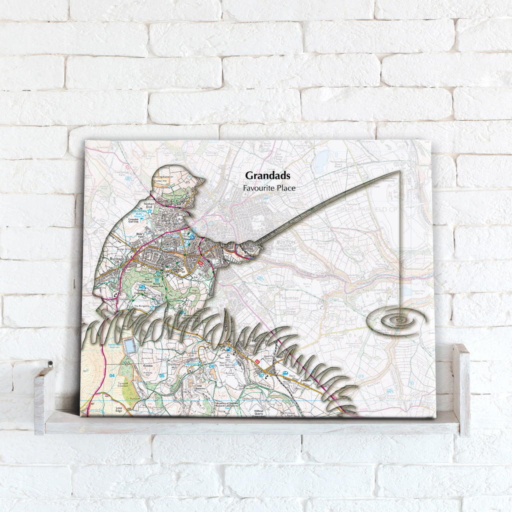 Personalised Fishing Map Canvas Print- Love Maps On...