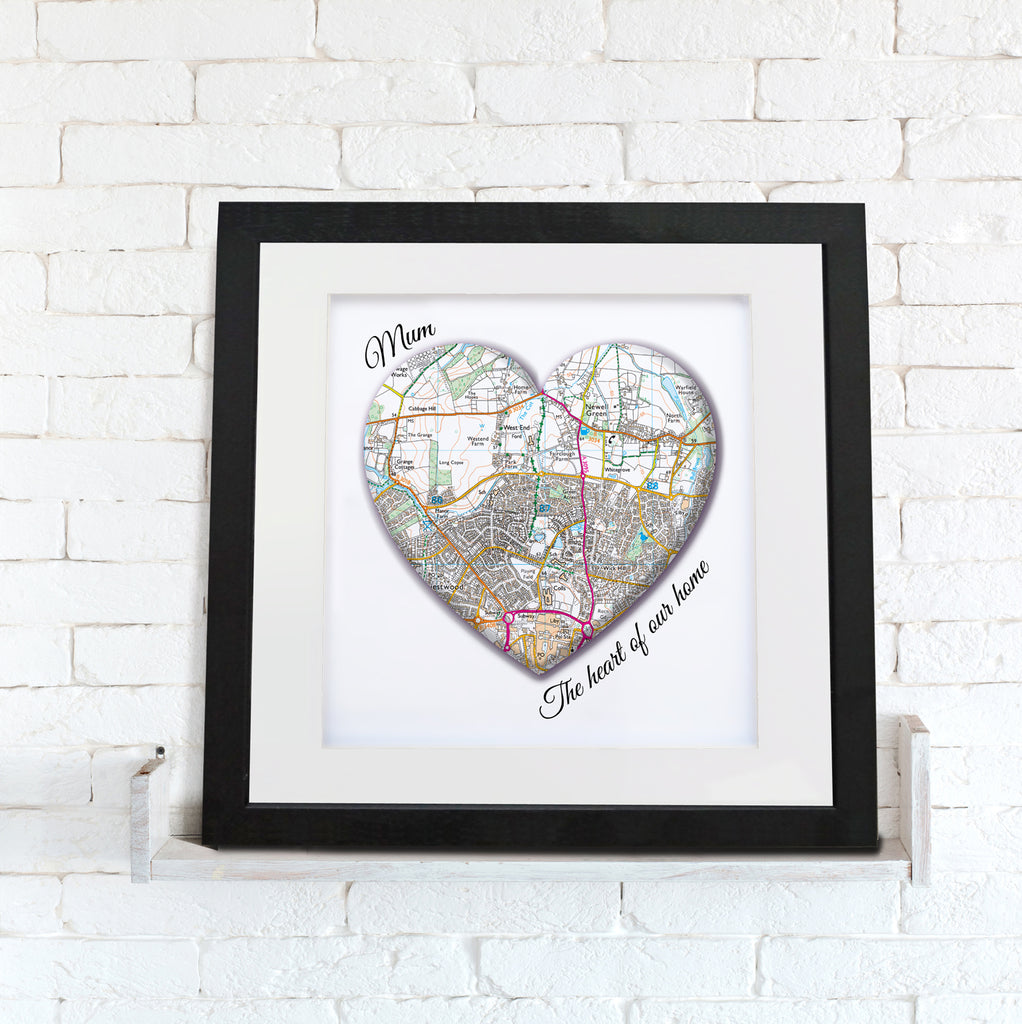 Framed Print - Personalised Map Heart 'Mum'