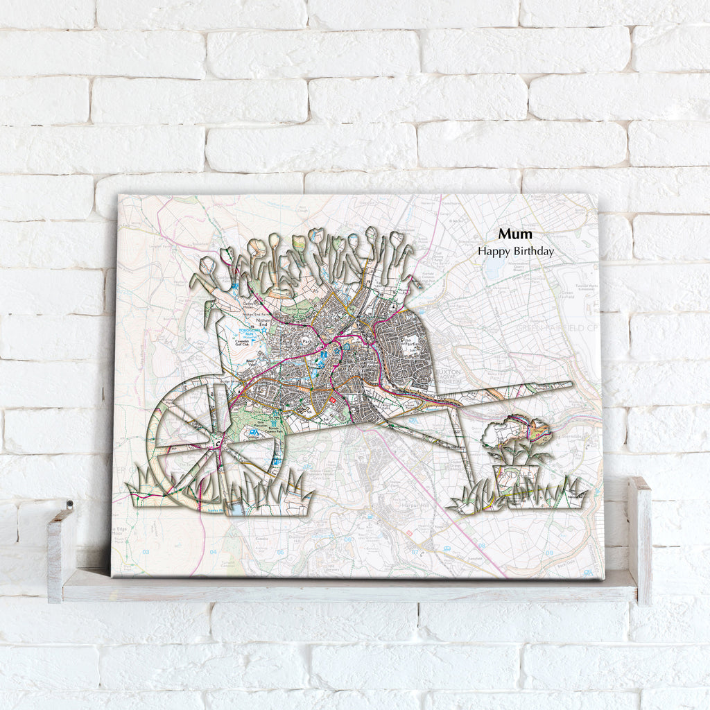 Personalised Gardening Map Canvas Print- Love Maps On...