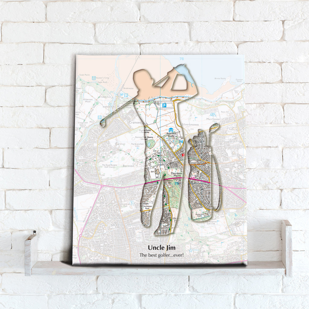 Personalised Golf Map Canvas Print- Love Maps On...