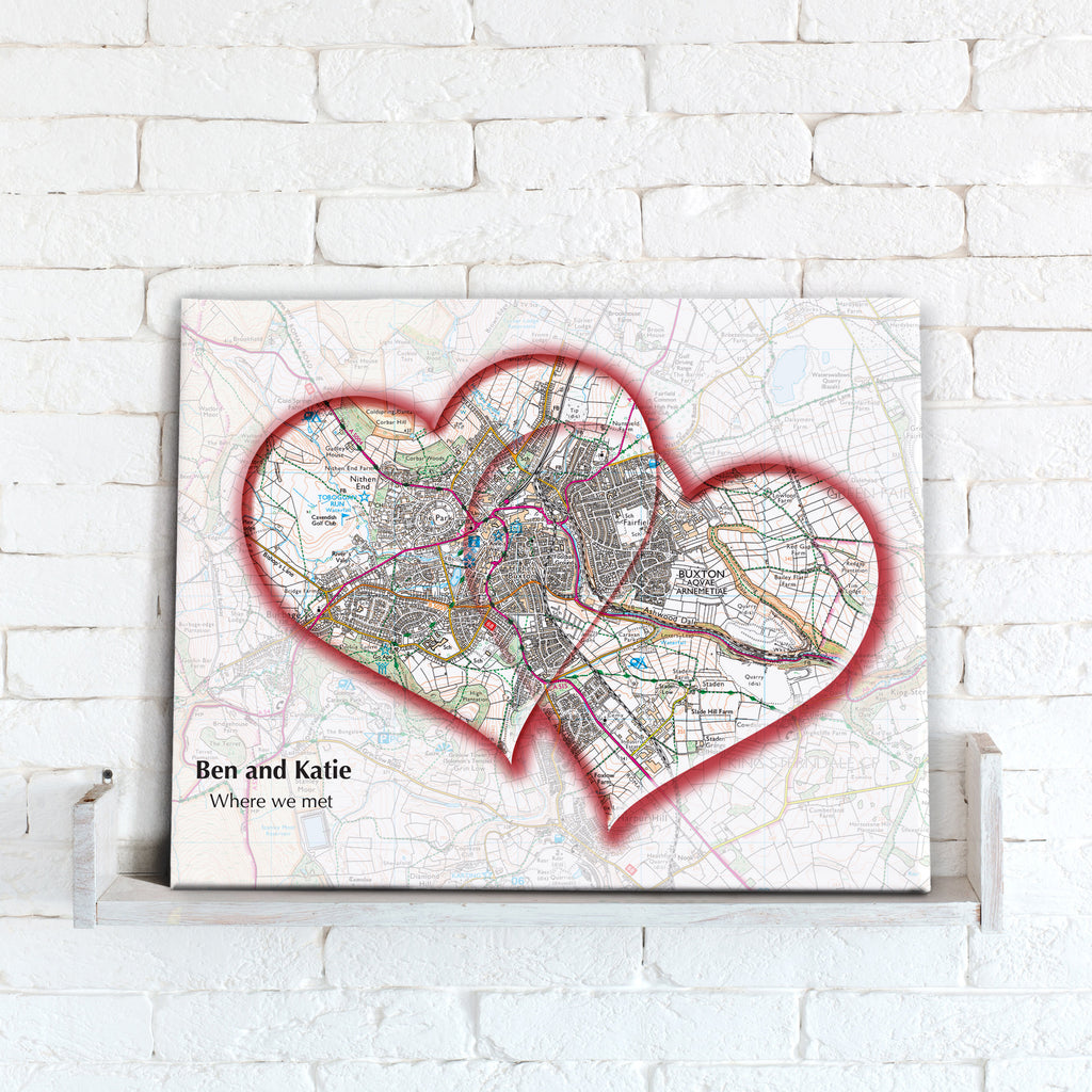 Personalised Love Hearts Map Canvas Print- Love Maps On...