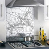 Glass Splashbacks - Custom Vintage Ordnance Survey Victorian Street Map Splashbacks- Love Maps On...