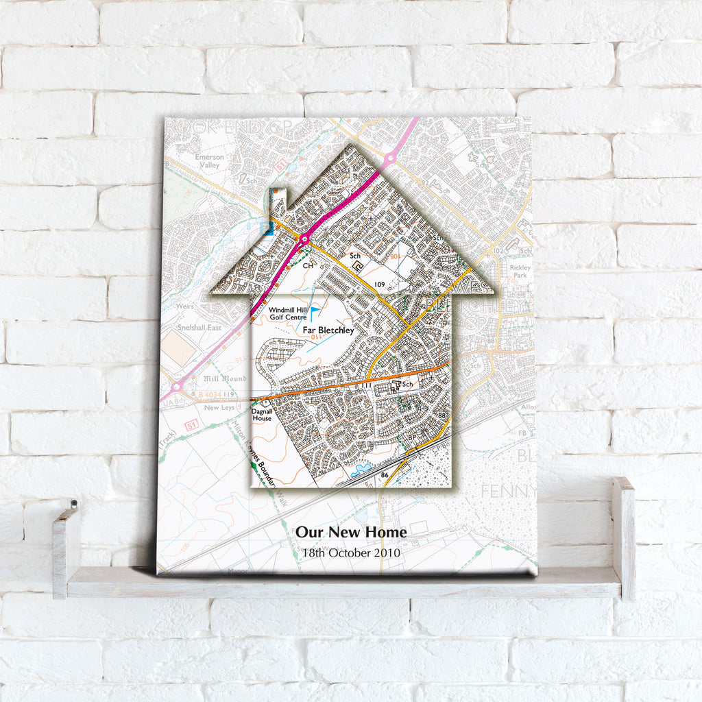 Personalised Map of Your Home Canvas Print- Love Maps On...