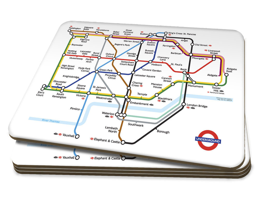 Map Placemat & Coaster Set - London Underground Map - Love Maps On...