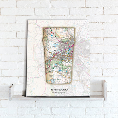 Personalised Beer Glass Map