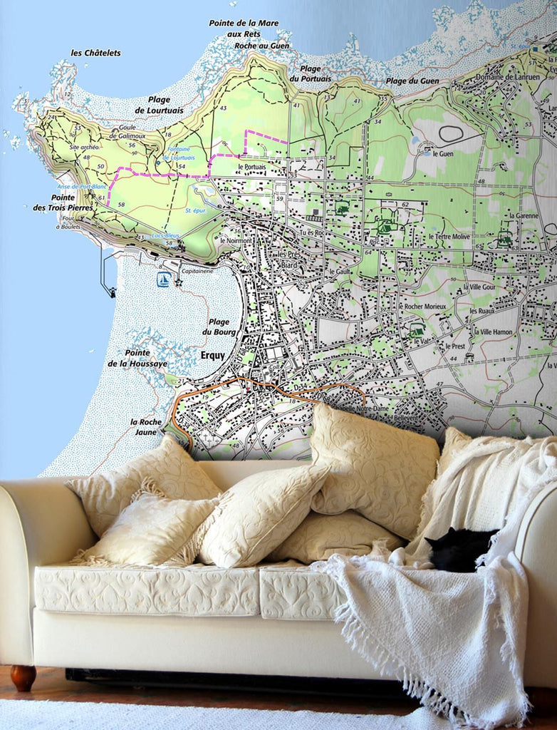 Map Wallpaper - France 1:25,000 - postcode centred - Classic Style