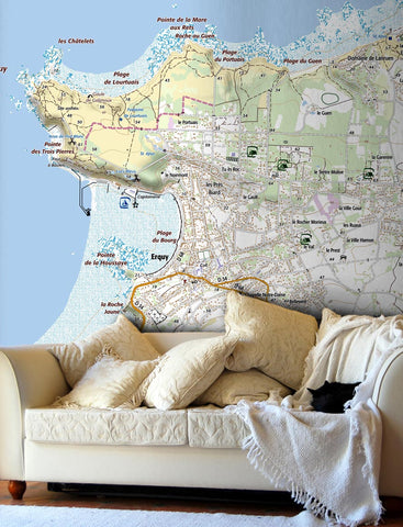 Map Wallpaper - France 1:25,000 - postcode centred - Standard Style