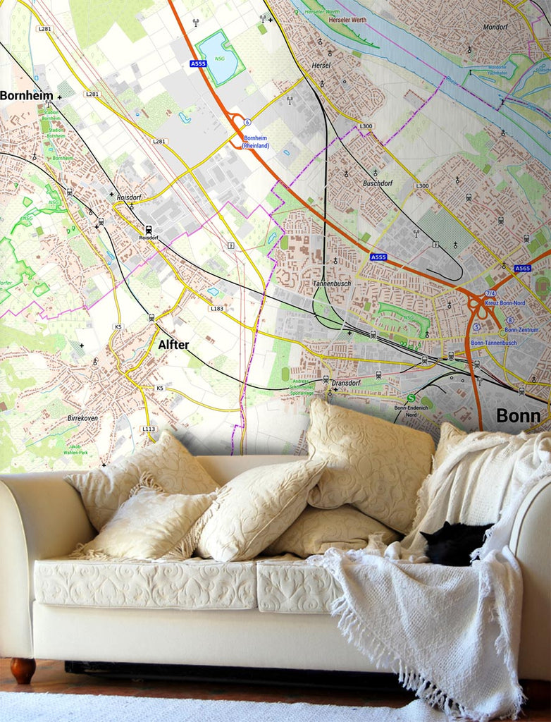 Map Wallpaper - Germany 1:25,000 - postcode centred