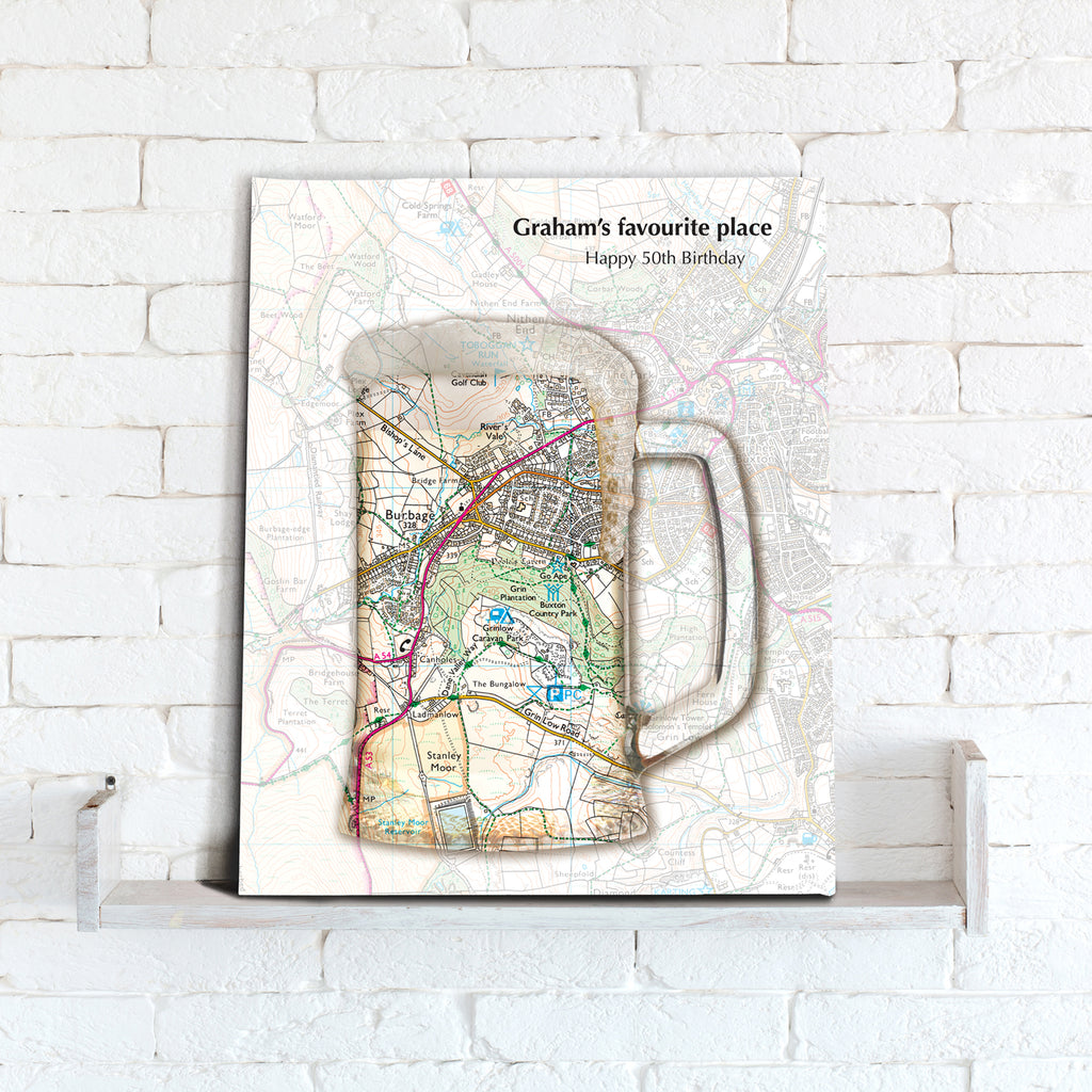 Personalised Tankard Map Canvas Print- Love Maps On...
