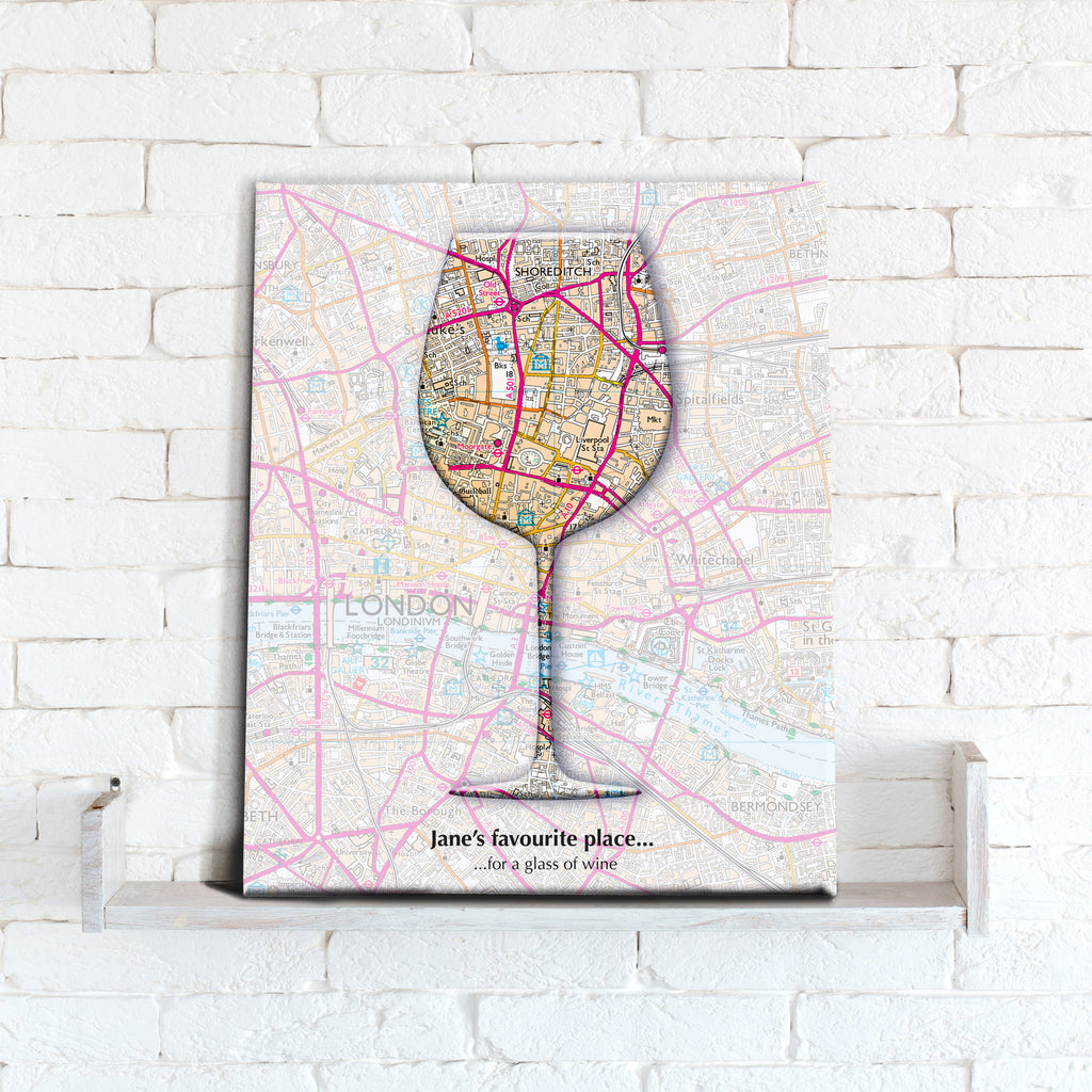 Personalised Wine Glass Map Canvas Print- Love Maps On...