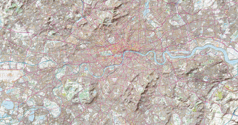 Map Canvas - London Ordnance Survey Explorer Map with Hillshading