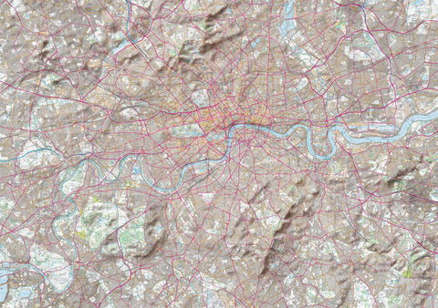 Map Poster - London Ordnance Survey Explorer Map with Hillshading