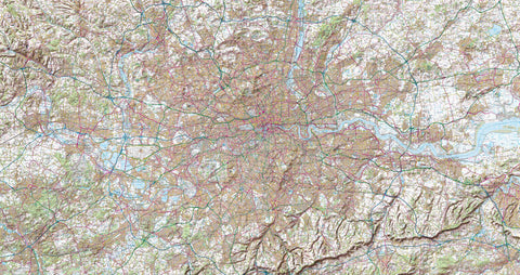 Map Canvas - London Ordnance Survey Landranger Map with Hillshading