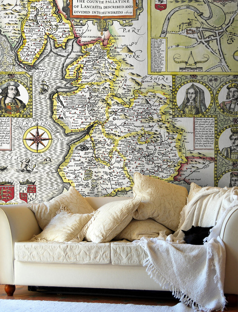 Map Wallpaper - Vintage County Map - Lancashire - Love Maps On... - 1