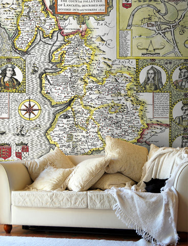Map Wallpaper - Vintage County Map - Lancashire