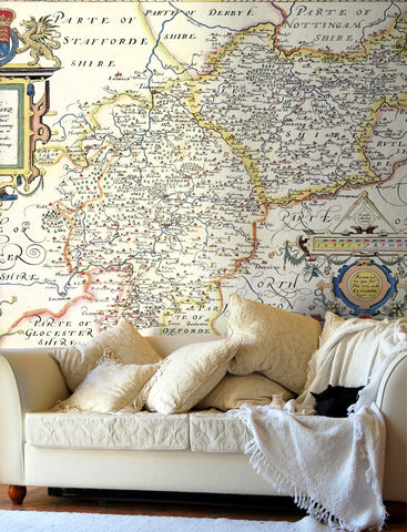 Map Wallpaper - Vintage County Map - Leicestershire