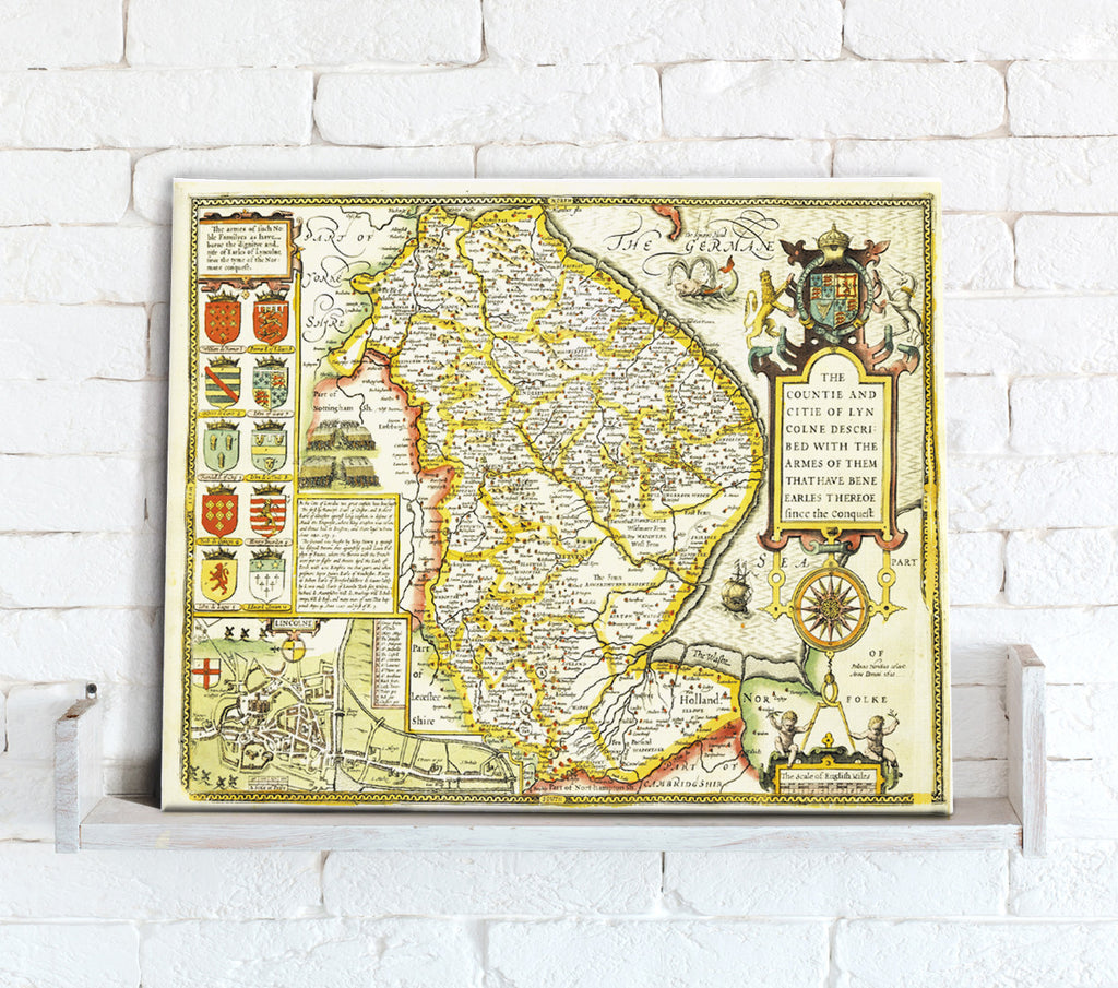 Map Canvas - Vintage County Map - Lincolnshire - Love Maps On...
