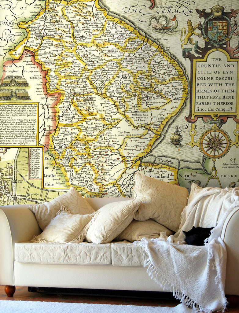 Map Wallpaper - Vintage County Map - Lincolnshire - Love Maps On... - 1