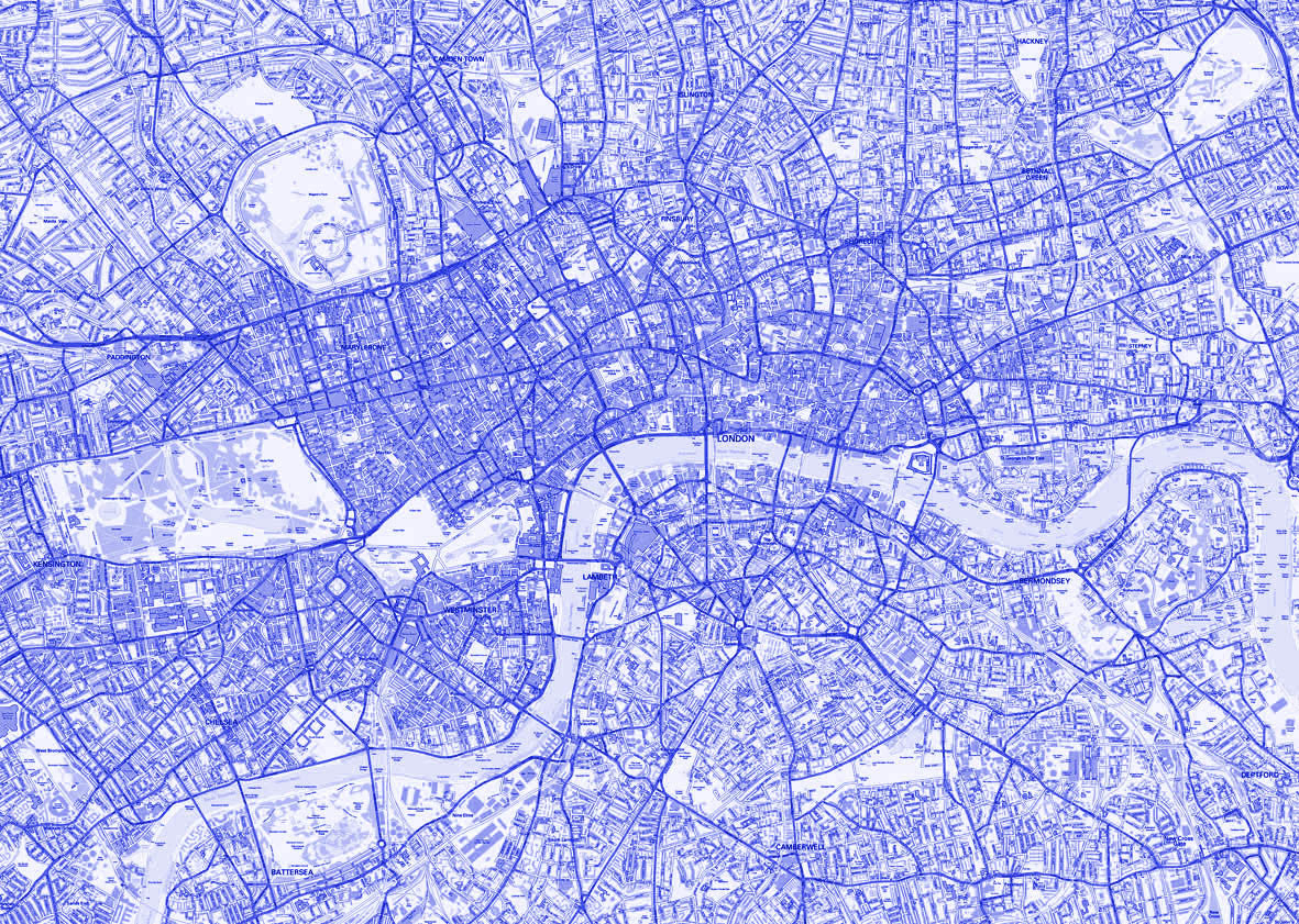 map poster london streetmap blue love maps on 6