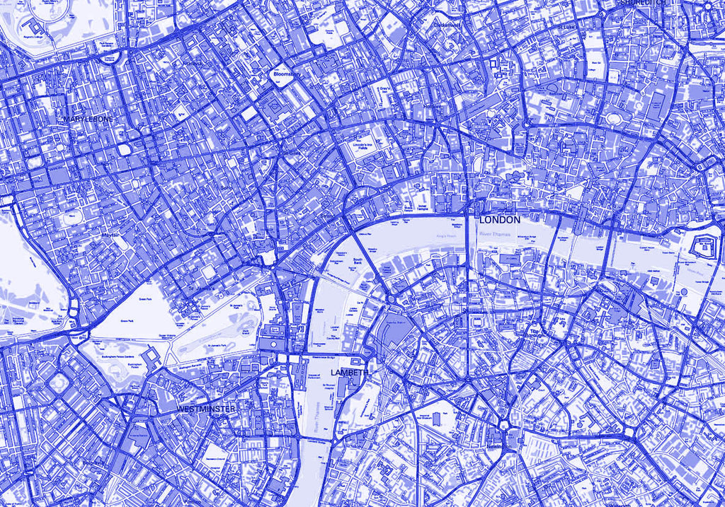 Map Poster London Streetmap Blue From Love Maps On