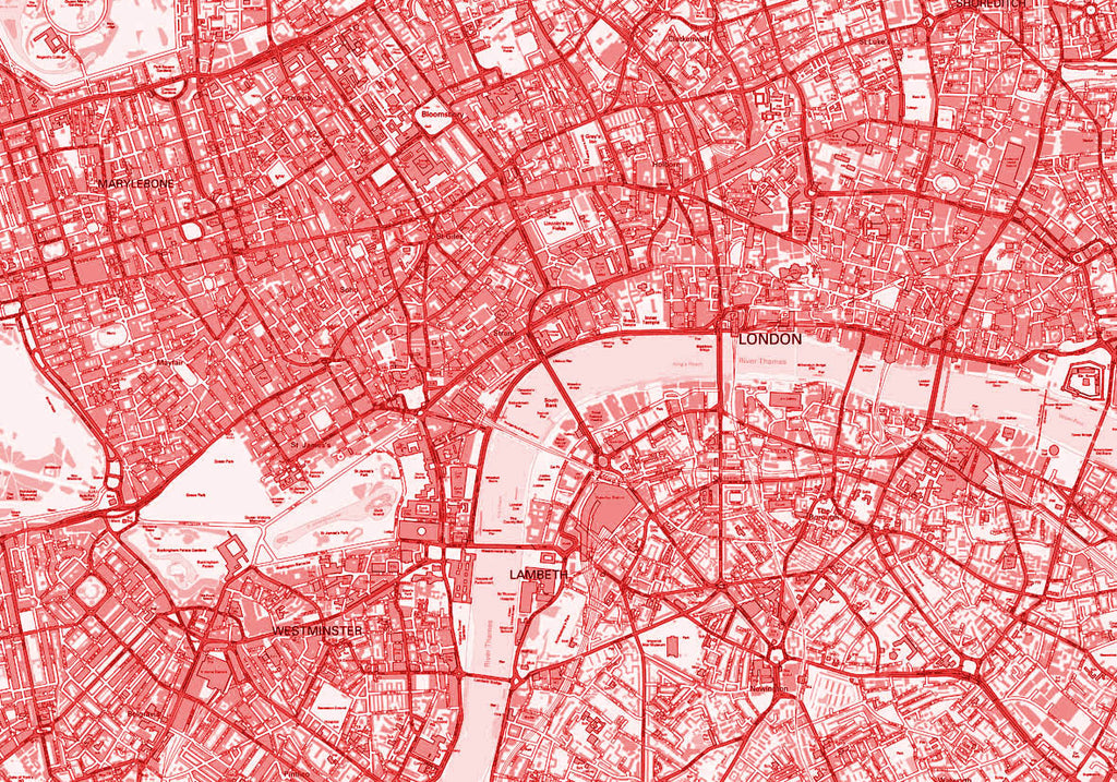 Map Poster - London Streetmap - Red - Love Maps On... - 4