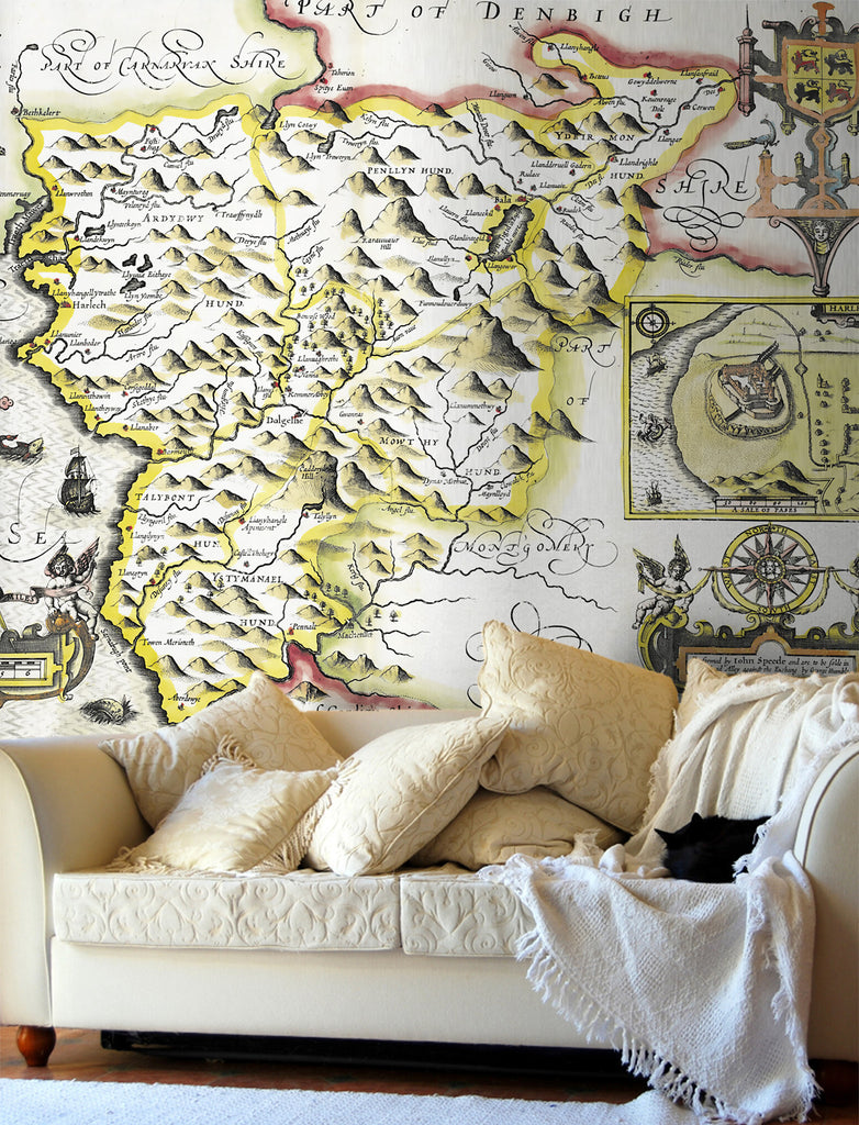Map Wallpaper - Vintage County Map - Merionethshire - Love Maps On... - 1