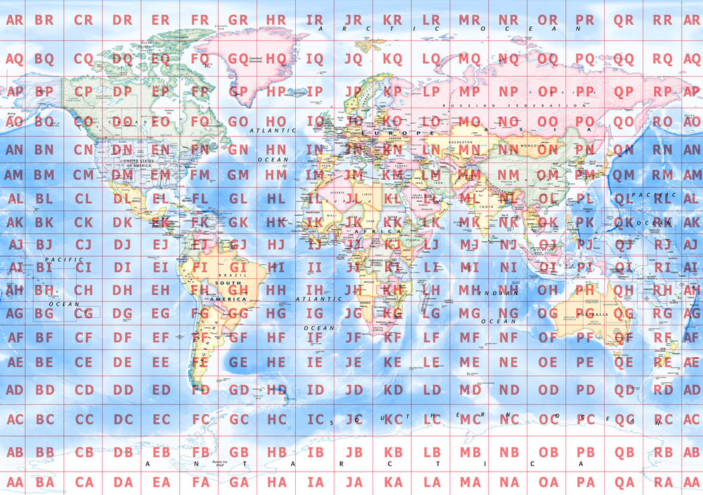 Map Poster - World Map with Maidenhead Grid