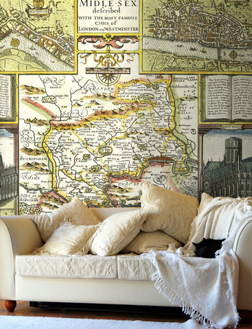 Map Wallpaper - Vintage County Map - Middlesex