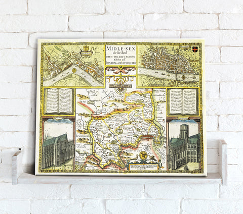 Map Canvas - Vintage County Map - Middlesex