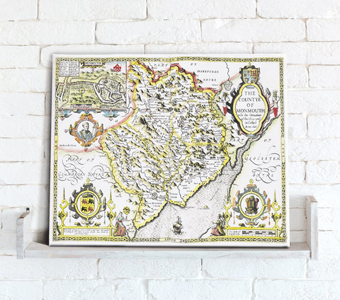 Map Canvas - Vintage County Map - Monmouthshire