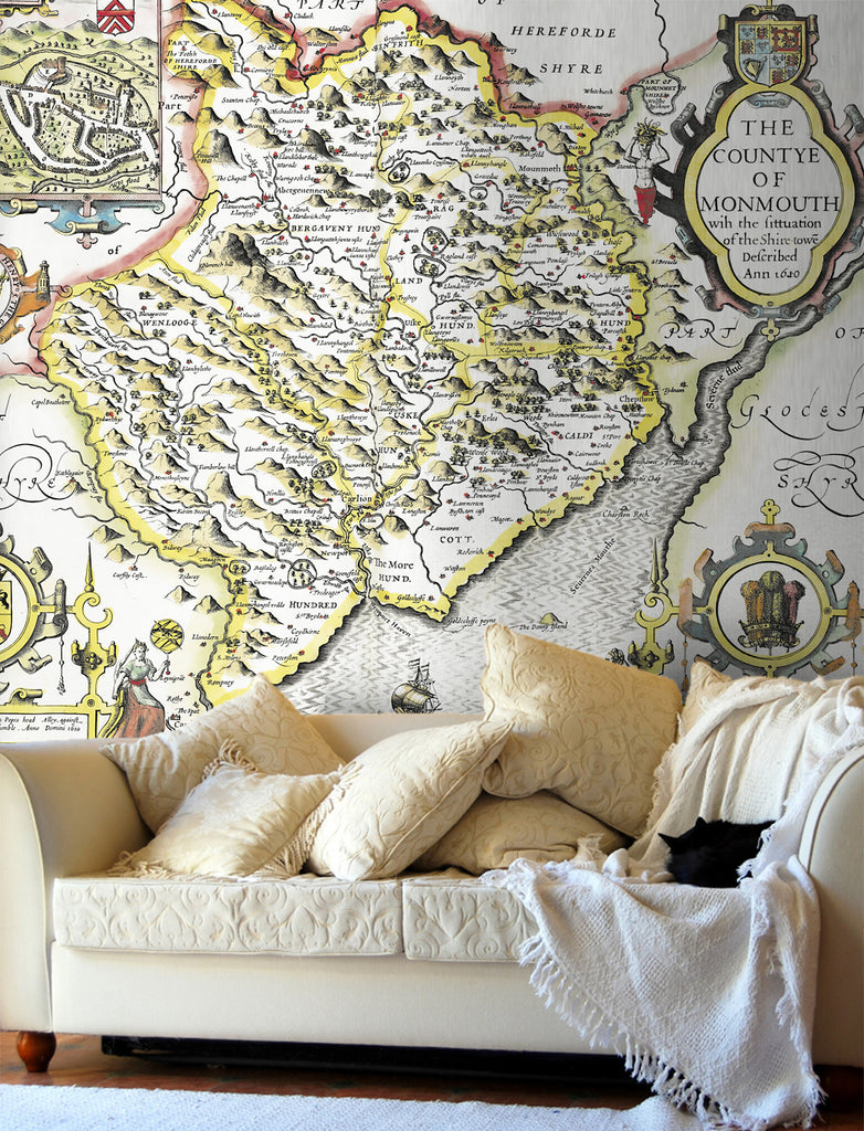 Map Wallpaper - Vintage County Map - Monmouthshire - Love Maps On... - 1