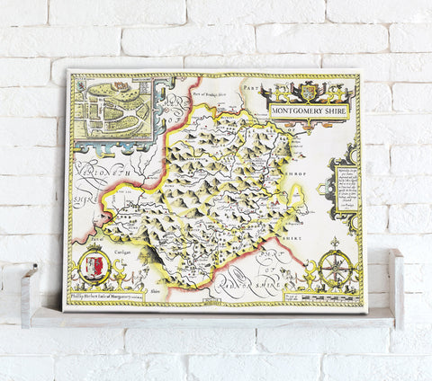 Map Canvas - Vintage County Map - Montgomeryshire