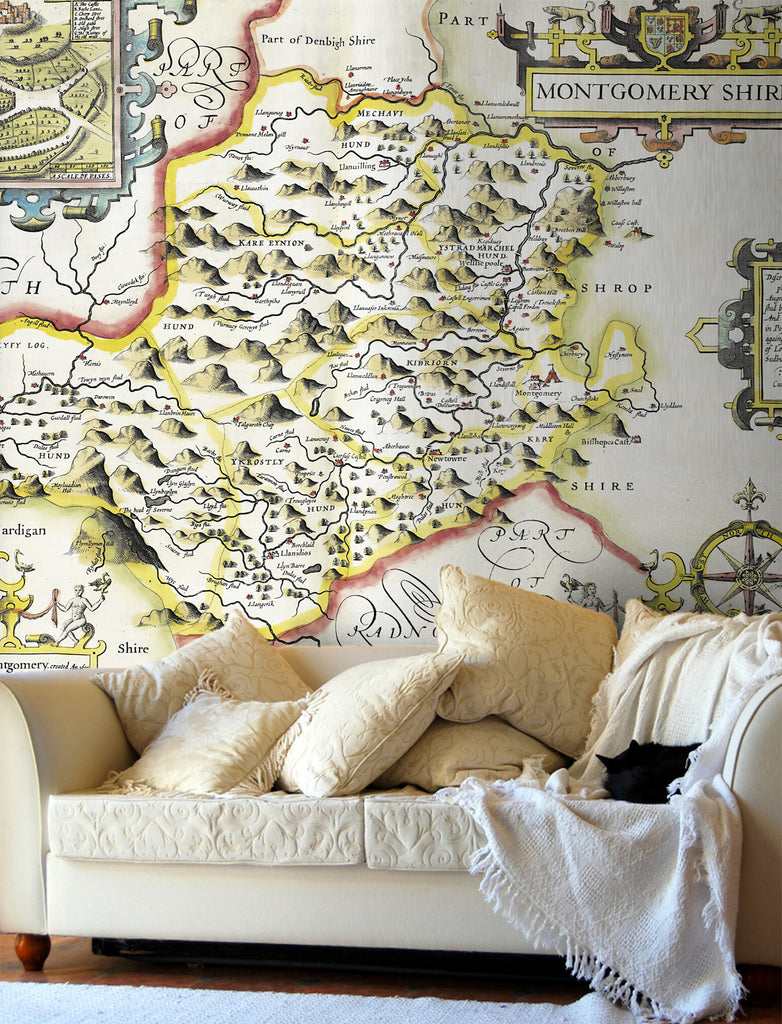 Map Wallpaper - Vintage County Map - Montgomeryshire - Love Maps On... - 1
