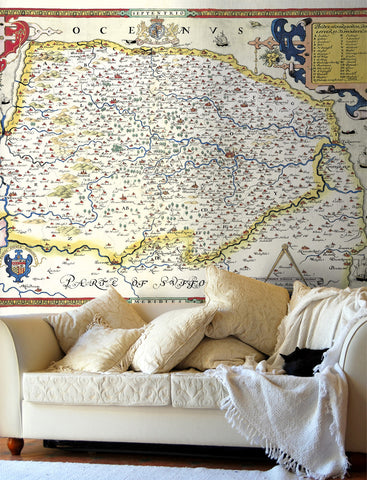Map Wallpaper - Vintage County Map - Norfolk