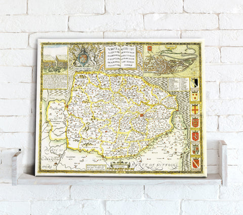 Map Canvas - Vintage County Map - Norfolk