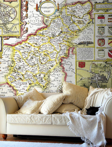 Map Wallpaper - Vintage County Map - Northamptonshire