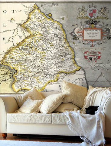 Map Wallpaper - Vintage County Map - Northumberland