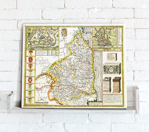 Map Canvas - Vintage County Map - Northumberland