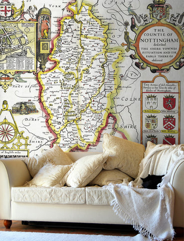 Map Wallpaper - Vintage County Map - Nottinghamshire