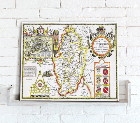 Map Canvas - Vintage County Map - Nottinghamshire