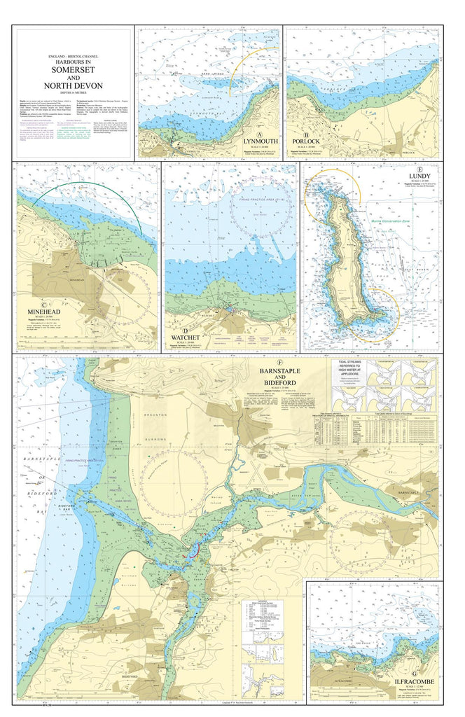 Nautical Chart - Admiralty Chart 1160 - Harbours in Somerset and North Devon