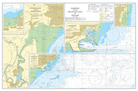 Nautical Chart - Admiralty Chart 1827 - Harbours on the South East Coast of England