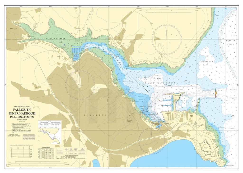Nautical Chart - Admiralty Chart 18 - Falmouth Inner Harbour including Penryn